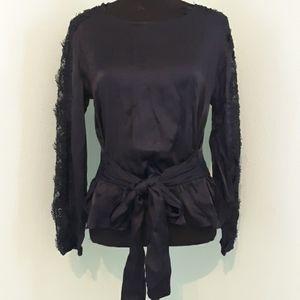 Zara satiny lace panel sleeve tie top